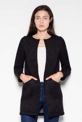 Czarny krótki pudełkowy płaszcz bez zapięcia