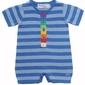 Tęczowy pajacyk z krótkimi rękawkami i nogawkami niebieski