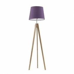 Lampa podłogowa aruba abażur fioletowy stelaż dębowy - fioletowy