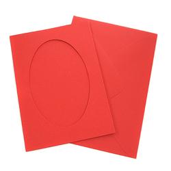 Kartka passe-partout owal - czerwona - CZE