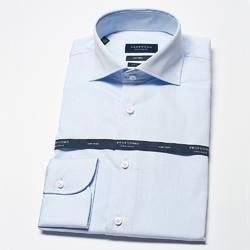 Elegancka błekitna extra długa koszula męska taliowana, slim fit z włoskim kołnierzykiem 45