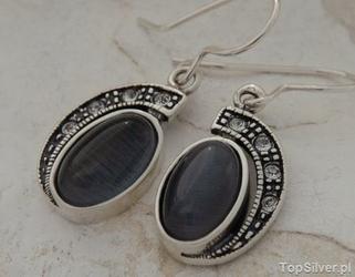 Ponti - srebrne kolczyki z kocim okiem i kryształami