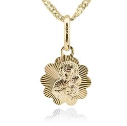 Złoty medalik łańcuszek pr. 585 na chrzest komunię grawer - niebieski