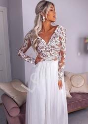 Biała oryginalna sukienka ślubna z podszewką brudno różową, rene