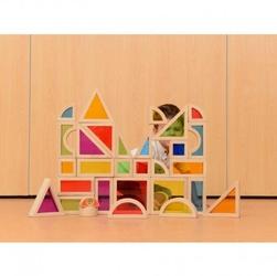 Tęczowe klocki zestaw 30 elementów kolorowe szkło masterkidz
