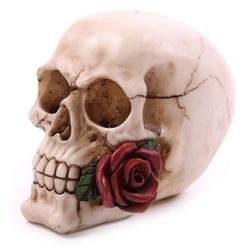 Czaszka z czerwoną różą - figurka