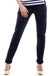 Granatowe wąskie spodnie z suwakami