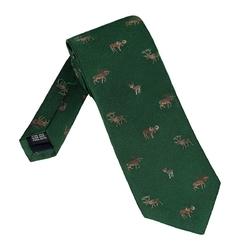 Elegancki zielony krawat jedwabny laco w leśne zwierzęta