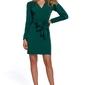 Dopasowana sukienka na guziki z szarfą - zielona