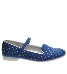 Pantofelek24.pl | niebieskie balerinki dziewczęce z paseczkiem