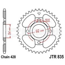 Zębatka tylna stalowa jt 835-45, 45z, rozmiar 428 2302076 yamaha sr 125