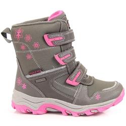 Śniegowce dziewczęce wodoodporne zimowe szare american club - szary  różowy