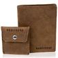 Skórzany zestaw portfel i bilonówka brodrene sw05 + cw02 jasnobrązowy - j. brązowy