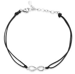 Bransoletka nieskończoność z cyrkoniami na czarnym sznurku srebro 925