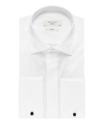 Elegancka biała koszula smokingowa profuomo sky blue do muchy, mankiety na spinki, kryta listwa. 41