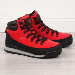 Buty trekkingowe wodoodporne czerwone american club - czerwony