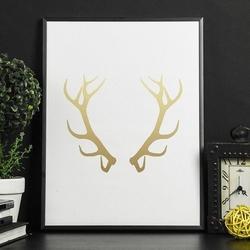 Rogi jelenia - plakat ze złotym nadrukiem , wymiary - 50cm x 70cm, kolor ramki - czarny, kolor nadruku - srebrny