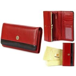 Skórzany portfel damski krenig scarlet 13026 czerwony w pudełku - czerwony