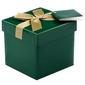 Pudełko na prezent zielone ze złotą tasiemką xs