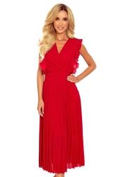Kopertowa sukienka midi z plisowanym dołem - czerwona