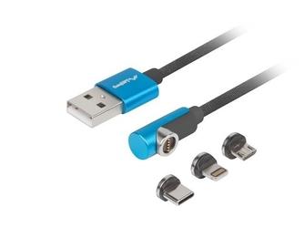 Lanberg kabel magnetyczny kątowy usb-am-usb microm+lightningm+usb-cm 2.0 1m czarno-niebieski qc 3.0