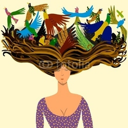 Plakat na papierze fotorealistycznym kobieta z ptakami lecącymi z jej włosów