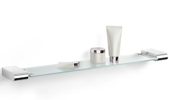 Szklana półka łazienkowa, stalowe, polerowane mocowanie - atore zack 65 cm 40456