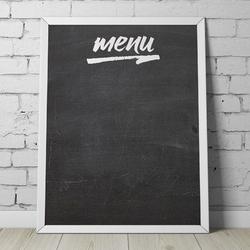 Designerska tablica kredowa z napisem quot;menuquot; , wymiary - 50cm x 70cm, kolor ramki - biały, orientacja tablicy - pozioma