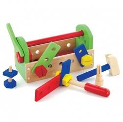 Viga drewniana skrzynka z narzędziami klocki konstrukcyjne warsztat
