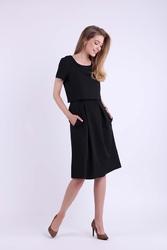 Wizytowa rozkloszowana sukienka z nakładką - czarna