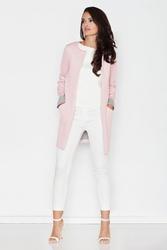 Różowy elegancki płaszczyk bez zapięcia i bez kołnierza