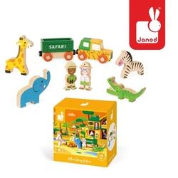Dzikie zwierzęta zestaw drewniany 8 elementów