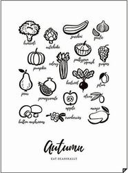 Plakat autumn - eat seasonally 30 x 40 cm