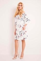 Ecru sukienka w kwiaty z odkrytymi ramionami