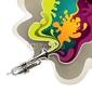 Obraz na płótnie canvas trzyczęściowy tryptyk zaprojektowany psychodeliczny baner z trąbką