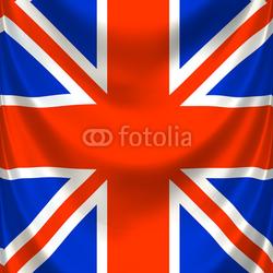 Obraz na płótnie canvas czteroczęściowy tetraptyk Drapowana kwadratowa angielska flaga