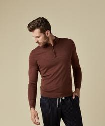Elegancki sweter polo z długimi rękawami w kolorze rdzawym l
