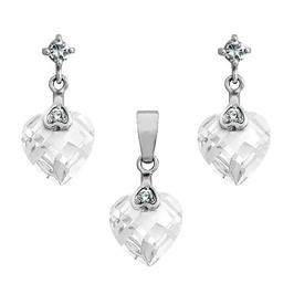 Lara cristal komplet srebrnej biżuterii wisiorek kolczyki cyrkonie sece