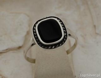 Maleria - srebrny pierścionek z onyksami