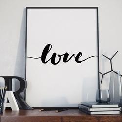 Love - plakat w stylu skandynawskim , wymiary - 30cm x 40cm, kolor ramki - biały