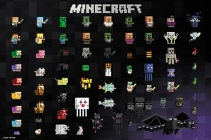Minecraft Pixel Sprites - plakat z gry