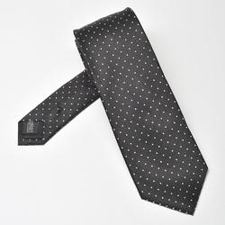 Czarny krawat jedwabny w białe kropki
