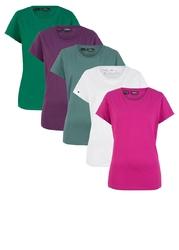 Shirt z okrągłym dekoltem 5 szt., krótki rękaw bonprix szmaragdowy + jagodowy + fuksja + jasny miętowy + biały