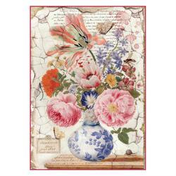 Papier ryżowy Stamperia A4 kwiaty wazon