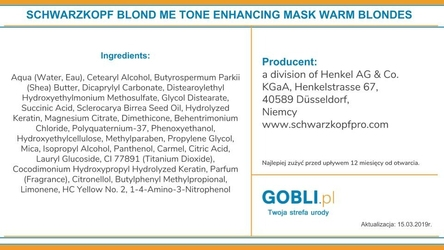 Schwarzkopf blondme tone enhancing warm blondes, maska do ciepłych blond 200ml