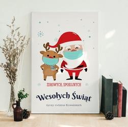 Obraz świąteczny na płótnie prezent na boże narodzenie ze zdjęciem 40x60 cm