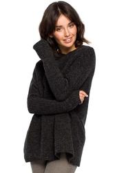 Antracytowy sweter z niską stójką