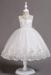 Tiulowa biała sukienka komunijna 561