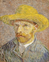 Reprodukcja self-portrait with straw hat, vincent van gogh