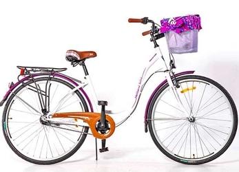 Rower storm 28 amsterdam 1-biegowy biały, błotnik fiolet